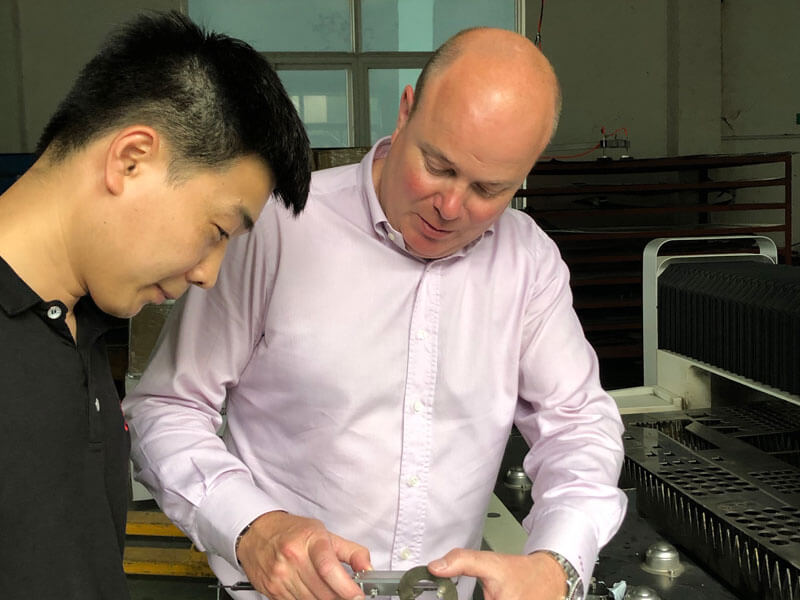 Our Managing Director on a factory visit, working on product development